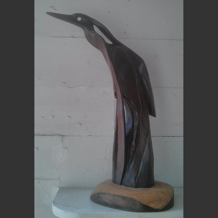Heron Carved in mulberry